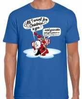 Fout kerstrui zingende kerstman met gitaar blauw voor man
