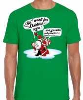 Fout kerstrui zingende kerstman met gitaar groen voor man