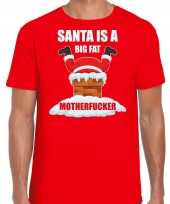 Fout kersttrui outfit santa is a big fat motherfucker rood voor man