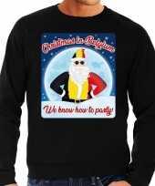 Foute belgie kersttrui christmas in belgium zwart voor man