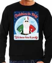 Foute italie kersttrui christmas in italy zwart voor man