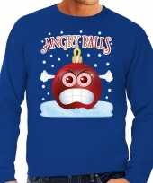 Foute kerst sweater trui angry balls blauw man