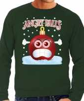 Foute kerst sweater trui angry balls groen man