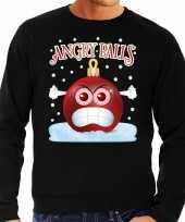 Foute kerst sweater trui angry balls zwart man