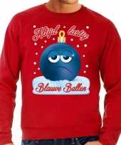 Foute kerst sweater trui blauwe ballen rood voor man