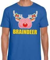 Foute kerst trui braindeer blauw voor man