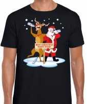Foute kerst trui dronken kerstman en rudolf zwart man