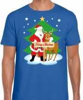 Foute kerst trui kerstman en rendier rudolf blauw man