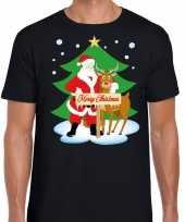 Foute kerst trui kerstman en rendier rudolf zwart man