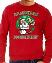 Foute kersttrui bier drinkende kerstman rood voor man