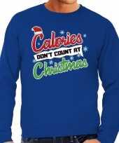 Foute kersttrui calories dont count christmas blauw voor man