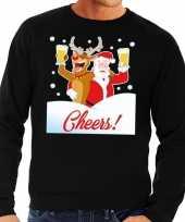 Foute kersttrui cheers met dronken kerstman zwart man