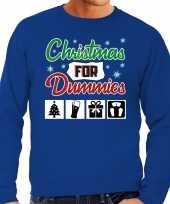 Foute kersttrui christmas for dummies blauw voor man