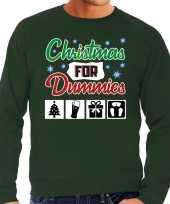 Foute kersttrui christmas for dummies groen voor man