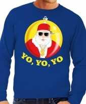 Foute kersttrui hip hop rapper kerstman blauw voor man