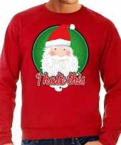 Foute kersttrui i hate this rood voor man
