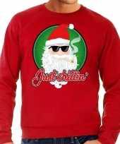 Foute kersttrui just chillin rood voor man