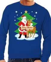 Foute kersttrui kerstman en rendier rudolf blauw man