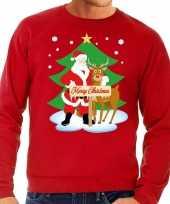Foute kersttrui kerstman en rendier rudolf rood man