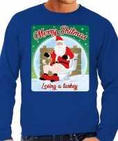 Foute kersttrui merry shitmas blauw voor man