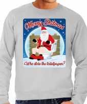 Foute kersttrui merry shitmas grijs voor man