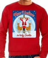 Foute kersttrui now i believe in holy santa rood voor man