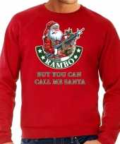 Foute kersttrui outfit rambo but you can call me santa rood voor man
