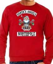 Foute kersttrui outfit santas angels northpole rood voor man
