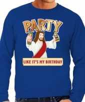 Foute kersttrui party jezus blauw voor man