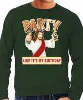 Foute kersttrui party jezus groen voor man