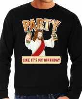Foute kersttrui party jezus zwart voor man