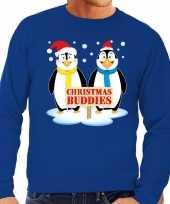 Foute kersttrui pinguin vriendjes blauw man
