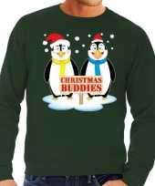 Foute kersttrui pinguin vriendjes groen man