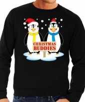 Foute kersttrui pinguin vriendjes zwart man