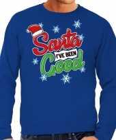 Foute kersttrui santa i have been good blauw voor man