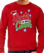 Foute kersttrui santa i have been good rood voor man