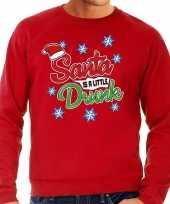 Foute kersttrui santa is a little drunk rood voor man