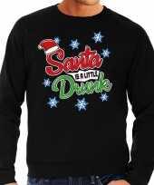 Foute kersttrui santa is a little drunk zwart voor man