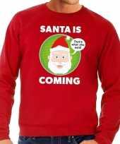 Foute kersttrui santa is coming rood voor man