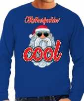 Foute kersttrui stoere kerstman motherfucking cool blauw man