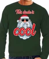 Foute kersttrui stoere kerstman this dude is cool groen man