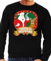 Foute kersttrui zwart santa is no vegan voor man