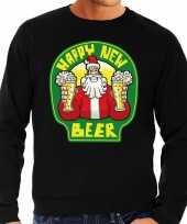 Foute nieuwjaar kersttrui happy new beer bier zwart man