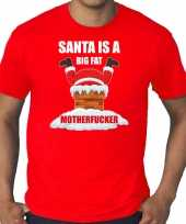 Grote maten fout kersttrui outfit santa is a big fat motherfucker rood voor man