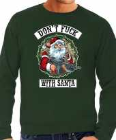 Grote maten foute kersttrui outfit dont fuck with santa groen voor man