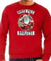Grote maten foute kersttrui outfit northpole roulette rood voor man