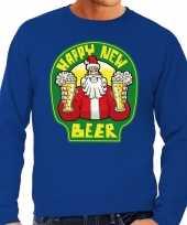 Grote maten nieuwjaar kersttrui happy new beer blauw man