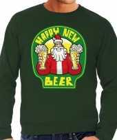 Grote maten nieuwjaar kersttrui happy new beer groen man