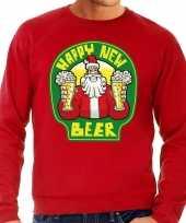 Grote maten nieuwjaar kersttrui happy new beer rood man
