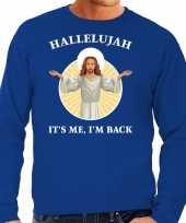 Hallelujah its me im back kersttrui outfit blauw voor man